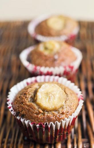 Kawowo-czekoladowe muffinki z bananem.