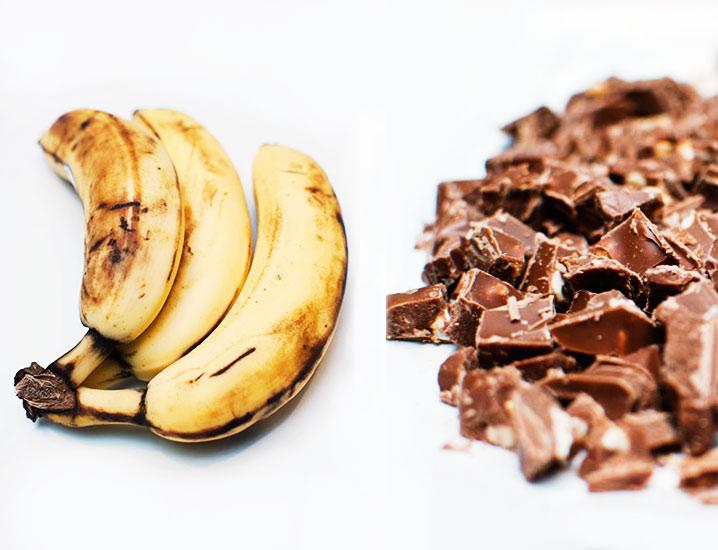 Banany, czekolada.